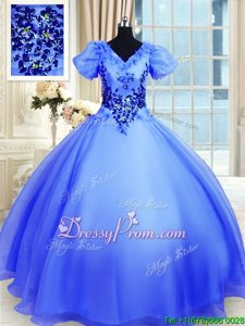 Exceptional Blue Organza Lace Up V-neck Short Sleeves Floor Length Ball Gown Prom Dress Appliques