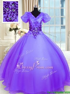 Beauteous Floor Length Lace Up 15th Birthday Dress Lavender and In forMilitary Ball and Sweet 16 and Quinceanera withAppliques