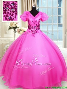 Eye-catching Organza V-neck Short Sleeves Lace Up Appliques Sweet 16 Dresses inHot Pink