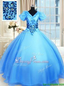Dynamic Floor Length Ball Gowns Short Sleeves Baby Blue 15th Birthday Dress Lace Up