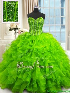 Fantastic Spring and Summer and Fall and Winter Organza Sleeveless Floor Length 15 Quinceanera Dress andBeading and Ruffles and Sequins