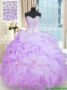 Romantic Sleeveless Organza Floor Length Lace Up 15th Birthday Dress inLavender forSpring and Summer and Fall and Winter withBeading and Ruffles