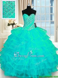 Clearance Beading and Ruffled Layers Sweet 16 Quinceanera Dress Turquoise Lace Up Sleeveless Floor Length