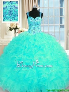 Custom Designed Organza Straps Sleeveless Lace Up Embroidery and Ruffles Quinceanera Gown inAqua Blue