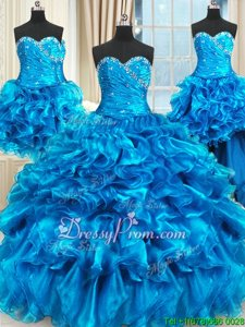 Fancy Blue Three Pieces Organza Sweetheart Sleeveless Beading and Ruffles and Ruching Floor Length Lace Up Quince Ball Gowns