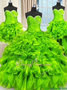 Graceful Spring Green Sweetheart Lace Up Beading and Ruffles and Ruching Quince Ball Gowns Sleeveless