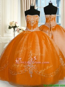 High End Gold Ball Gowns Organza Strapless Sleeveless Beading and Embroidery Floor Length Lace Up Sweet 16 Quinceanera Dress