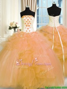 Sleeveless Lace Up Floor Length Hand Made Flower Vestidos de Quinceanera