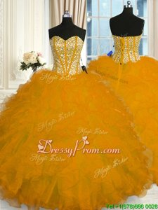 Designer Gold Ball Gowns Organza Sweetheart Sleeveless Beading and Ruffles Floor Length Lace Up Vestidos de Quinceanera
