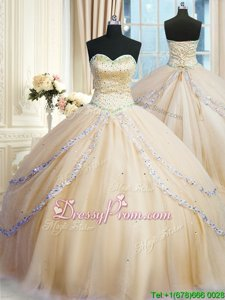 Fashionable Gold Ball Gowns Sweetheart Sleeveless Tulle With Train Court Train Lace Up Beading and Appliques 15th Birthday Dress