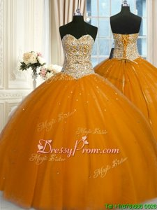 Spectacular Gold Sweetheart Neckline Beading and Sequins Ball Gown Prom Dress Sleeveless Lace Up