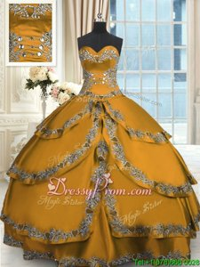 Fine Gold Sleeveless Taffeta Lace Up Ball Gown Prom Dress forMilitary Ball and Sweet 16 and Quinceanera
