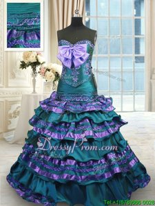 Simple Sweetheart Sleeveless Taffeta Sweet 16 Dresses Appliques and Ruffled Layers and Bowknot Sweep Train Lace Up