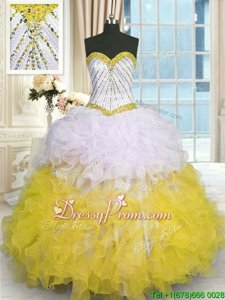 Floor Length Yellow And White Quince Ball Gowns Sweetheart Sleeveless Lace Up