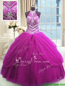 Best Fuchsia Ball Gowns Tulle High-neck Sleeveless Beading Floor Length Lace Up Quinceanera Gown