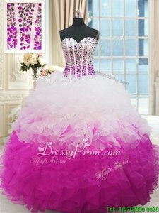 High End White and Fuchsia Ball Gowns Sweetheart Sleeveless Organza Floor Length Lace Up Beading and Ruffles Quinceanera Dress