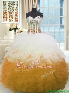Fitting White and Gold Sweetheart Lace Up Beading and Ruffles Sweet 16 Quinceanera Dress Sleeveless