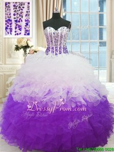 Low Price Ball Gowns Sweet 16 Dress White And Purple Sweetheart Organza Sleeveless Floor Length Lace Up