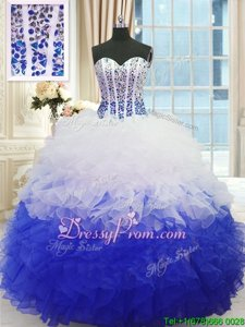 Delicate Ball Gowns Quinceanera Dress Blue And White Sweetheart Organza Sleeveless Floor Length Lace Up