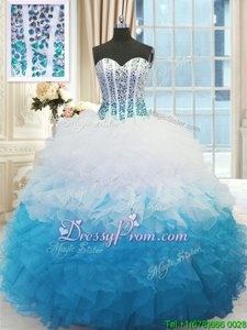 Traditional Floor Length Blue And White Ball Gown Prom Dress Organza Sleeveless Spring and Summer and Fall and Winter Beading and Ruffles