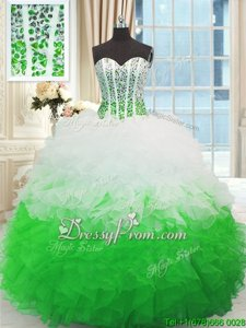Spectacular White and Green Sleeveless Floor Length Beading and Ruffles Lace Up Quinceanera Gowns