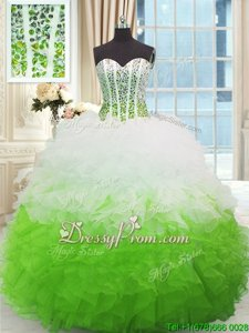 Fantastic Sleeveless Lace Up High Low Beading and Ruffles Sweet 16 Quinceanera Dress