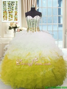 Decent Spring and Summer and Fall and Winter Organza Sleeveless Floor Length Quinceanera Dress andBeading and Ruffles