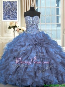 Artistic Sweetheart Sleeveless Sweet 16 Dresses Brush Train Beading and Ruffles Light Blue Organza