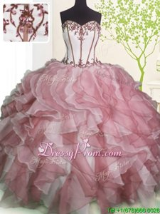 Most Popular Floor Length Ball Gowns Sleeveless Pink And White Quinceanera Dress Lace Up