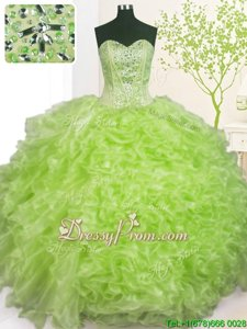 Customized Sweetheart Sleeveless Lace Up Quinceanera Gown Yellow Green Organza