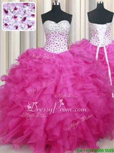 On Sale Sleeveless Floor Length Beading and Ruffles Lace Up Sweet 16 Quinceanera Dress with Hot Pink