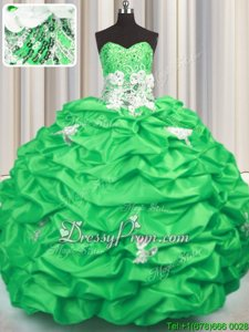 Sweetheart Sleeveless Brush Train Lace Up Quinceanera Dresses Spring Green Taffeta
