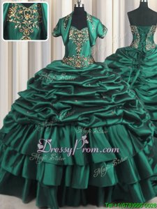 Noble Peacock Green Lace Up Quince Ball Gowns Beading and Appliques and Pick Ups Sleeveless With Brush Train