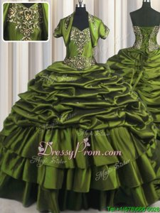 Custom Design With Train Ball Gowns Short Sleeves Olive Green 15th Birthday Dress Brush Train Lace Up