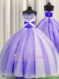 Modern Floor Length Lavender Vestidos de Quinceanera Organza Sleeveless Spring and Summer and Fall and Winter Beading and Sequins and Ruching