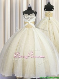 Popular Sleeveless Beading and Ruching Lace Up Quinceanera Dresses