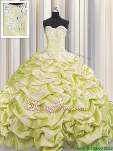 Noble Sweep Train Ball Gowns Quinceanera Dresses Light Yellow Sweetheart Taffeta Sleeveless Lace Up