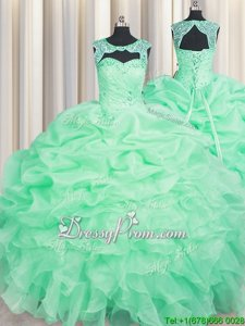 Admirable Apple Green Lace Up Sweet 16 Quinceanera Dress Beading and Pick Ups Sleeveless Floor Length