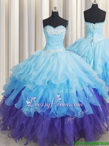 Multi-color Sleeveless Beading and Ruffles and Ruffled Layers and Sequins Floor Length Quinceanera Dress