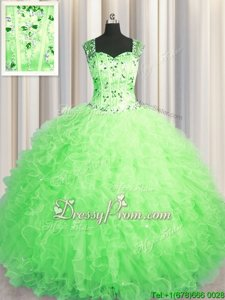 Pretty Spring Green Sleeveless Tulle Zipper 15 Quinceanera Dress forMilitary Ball and Sweet 16 and Quinceanera