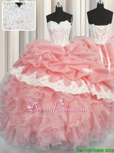 Best Selling Floor Length Ball Gowns Sleeveless Watermelon Red and Baby Pink Sweet 16 Quinceanera Dress Lace Up