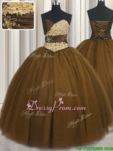 Perfect Brown Sweetheart Lace Up Beading and Appliques and Ruching and Belt Quinceanera Dresses Sleeveless