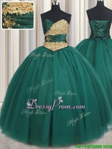 Beautiful Spring and Summer and Fall and Winter Tulle Sleeveless Floor Length 15th Birthday Dress andBeading and Appliques