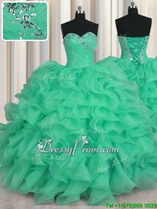 Attractive Turquoise Sleeveless Beading and Ruffles Floor Length Sweet 16 Dresses