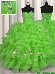 Suitable Spring Green Sleeveless Organza Lace Up Quince Ball Gowns forMilitary Ball and Sweet 16 and Quinceanera