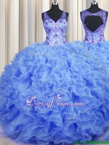 Charming Sleeveless Floor Length Beading and Appliques and Ruffles Zipper Ball Gown Prom Dress with Blue