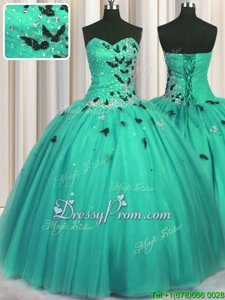Glorious Turquoise Quince Ball Gowns Military Ball and Sweet 16 and Quinceanera and For withBeading and Appliques and Sequins Sweetheart Sleeveless Lace Up