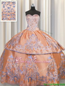 Floor Length Ball Gowns Sleeveless Orange Quinceanera Dress Lace Up