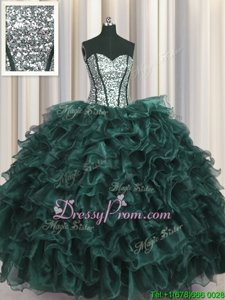 Excellent Sweetheart Sleeveless Organza and Sequined Vestidos de Quinceanera Ruffles and Sequins Lace Up