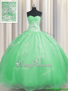 Dynamic Floor Length Lace Up Quinceanera Dress Spring Green and In forMilitary Ball and Sweet 16 and Quinceanera withBeading and Appliques